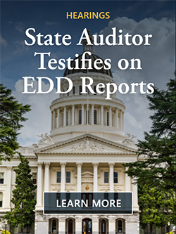 Learn more about the state auditor testifying on EDD reports at hearings. Image of the California State Capitol